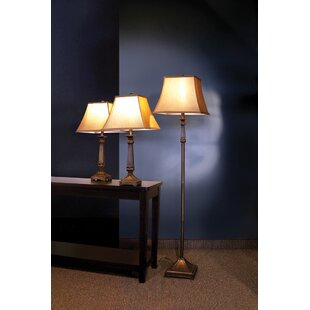 Darby Home Co Soliz 3 Piece Table and Floor Lamp Set