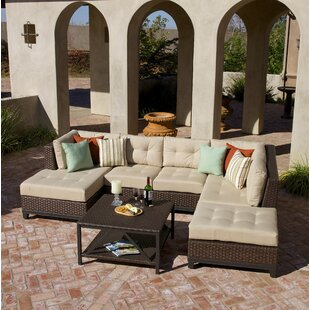 Kopec 5 Piece Rattan Sunbrella Sectional Seating Group with Cushions