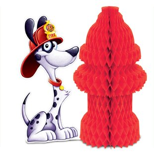 Fire Hydrant Paper Disposable Centerpiece (Set of 4)