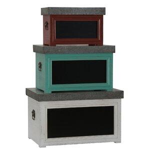 August Grove Heilig 3 Piece Chalkboard Storage Trunk Set (Set of 3)