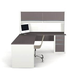 Latitude Run Karla L-Shape Desk Office Suite with Hutch