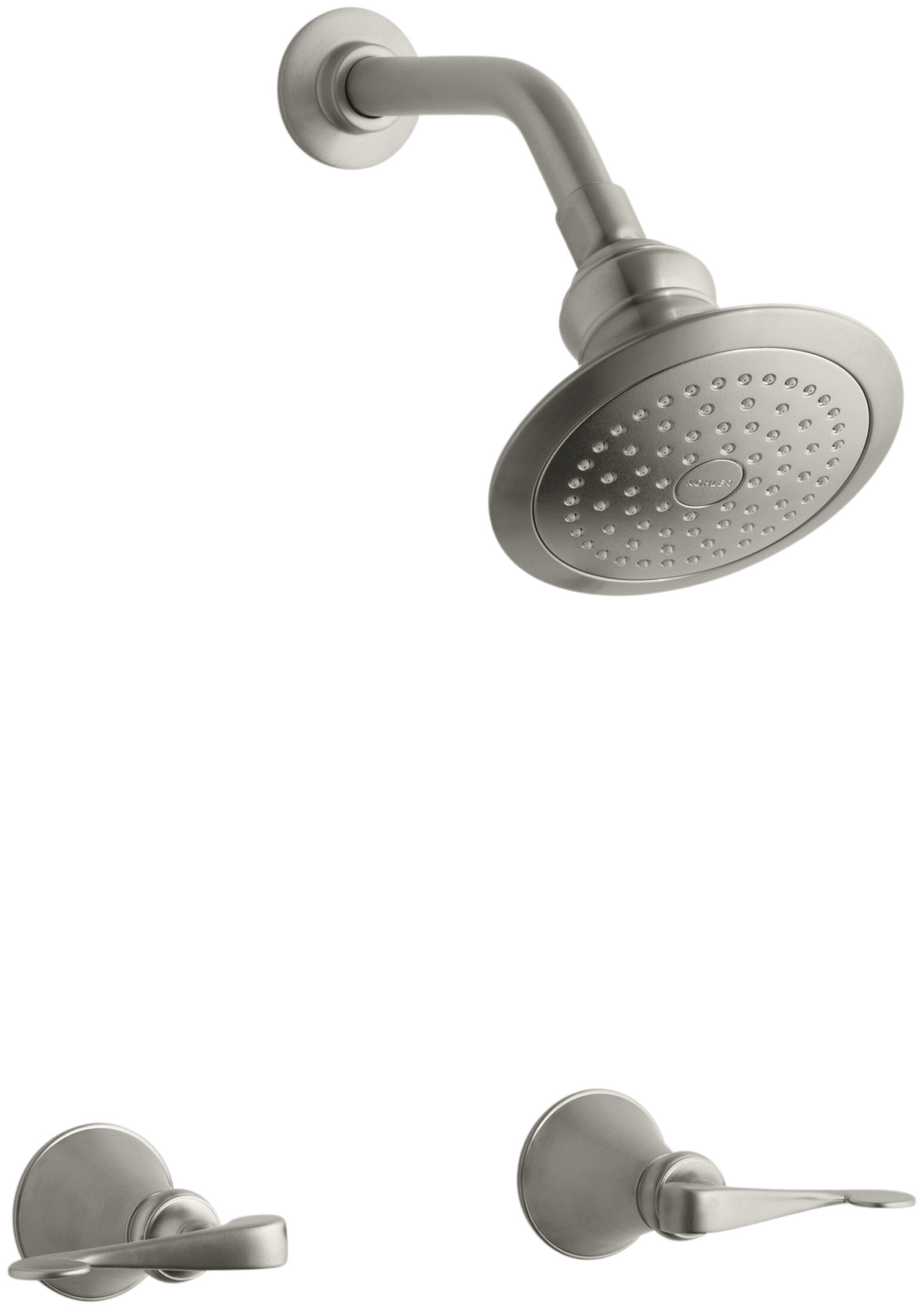 Revival Shower Faucet Set With Scroll Lever Handles And Single Function Shower Head Standard Showerarm And Flange