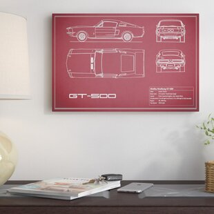 'Shelby Mustang GT500' Graphic Art Print on Canvas in Maroon ByEast Urban Home