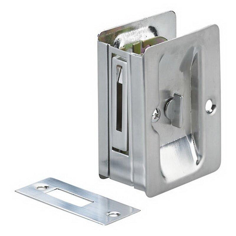 Rectangular Pocket Door Pull With Privacy Lock
