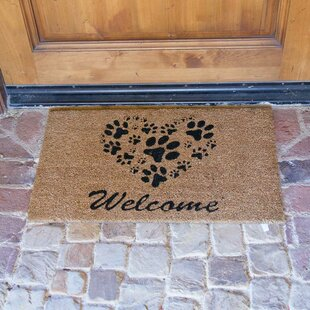 Hannah Heart Shaped Paws Welcome Doormat