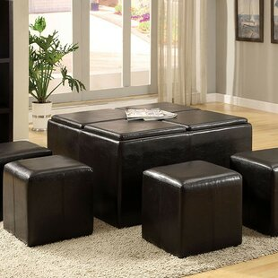 Margarida Leather Tufted Storage Ottoman by Red Barrel Studio