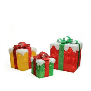 3 Piece Gift Box Christmas Yard Art Decoration Lighted Display Set by The Holiday Aisle