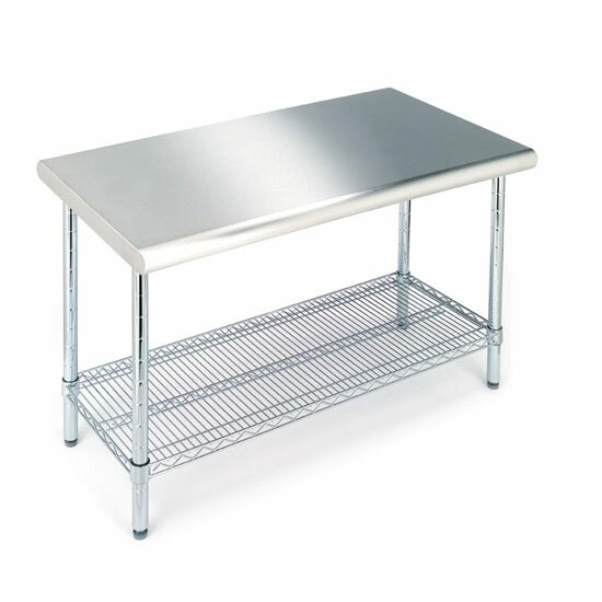 Ebern Designs  Dedmon Table with Stainless Steel Top