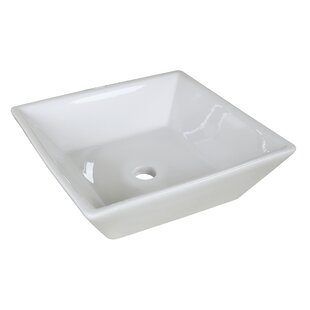 Royal Purple Bath Kitchen Ceramic Square Vessel Bathroom Sink with Overflow