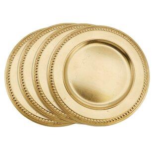 Reynold Bead Dot Design Elegant Decorative Melamine Charger (Set of 4)