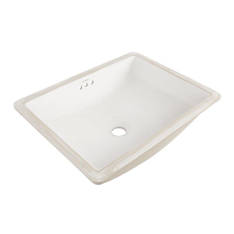 Plane Ceramic Rectangular Undermount Bathroom Sink With