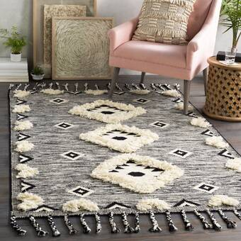 Union Rustic Mabini Geometric Handwoven Wool Black Cream Area Rug Reviews Wayfair