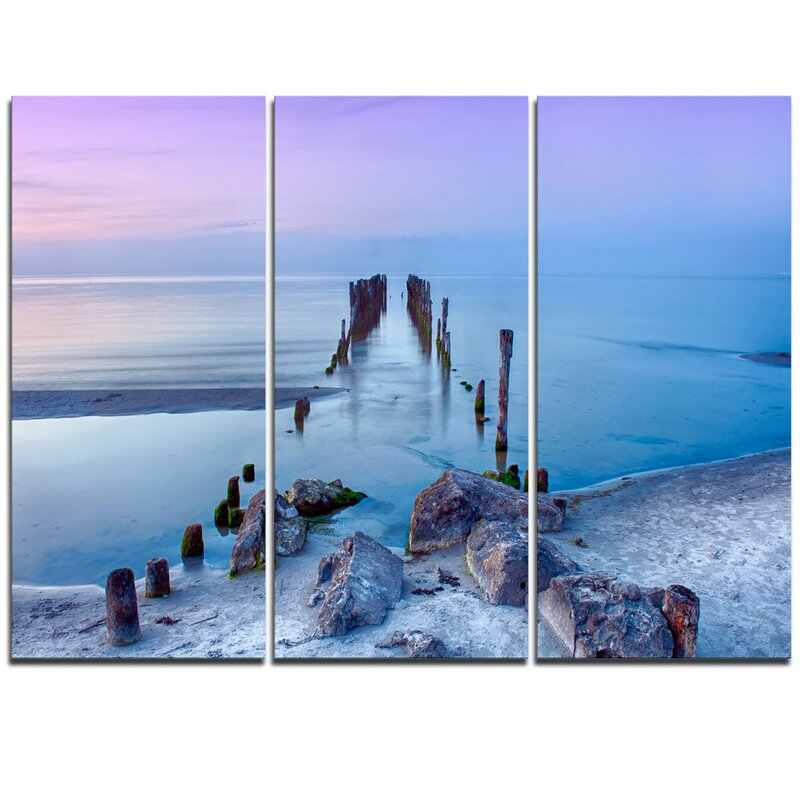Designart Old Pier And Bridge In Light Blue 3 Piece Graphic Art On Wrapped Canvas Set Wayfair