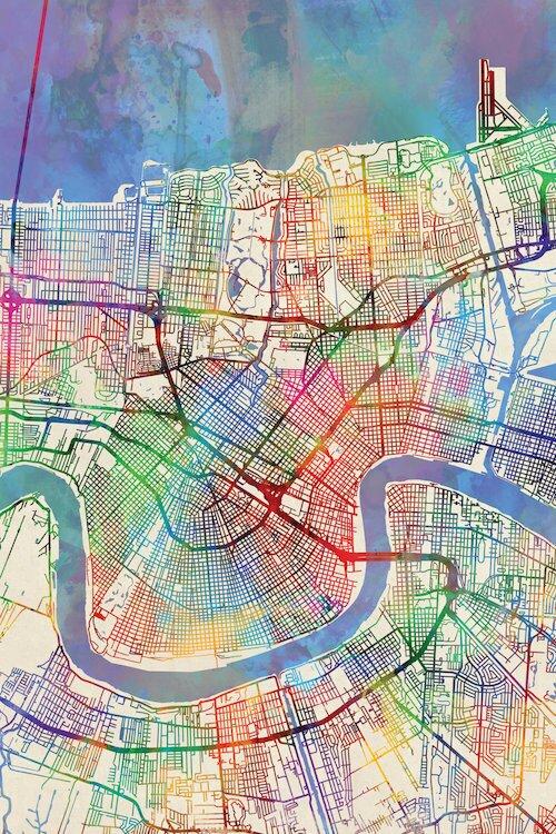 East Urban Home Rainbow Street Map Series New Orleans: Street Map Of New Orleans At Slyspyder.com