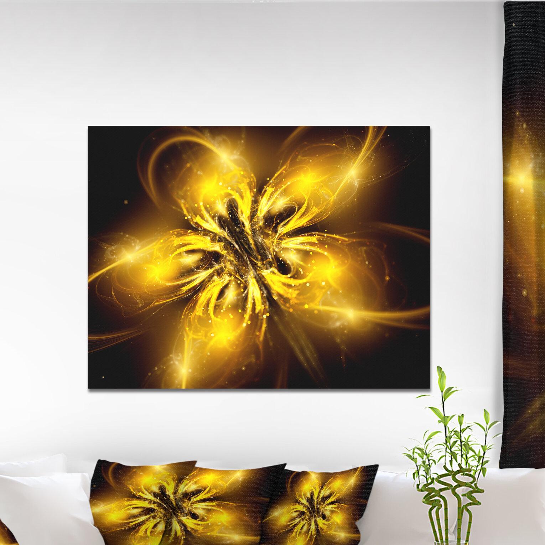 DesignArt \'Shiny Gold Fractal Flower on Black\' Graphic Art on ...