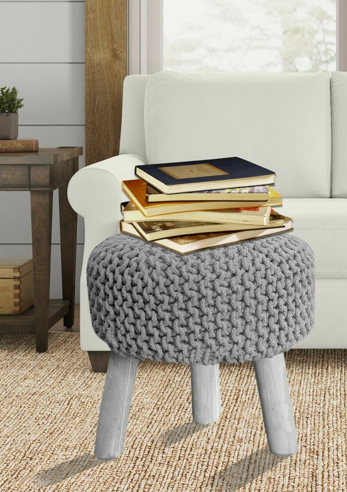 shutt hand knitted wooden pouf