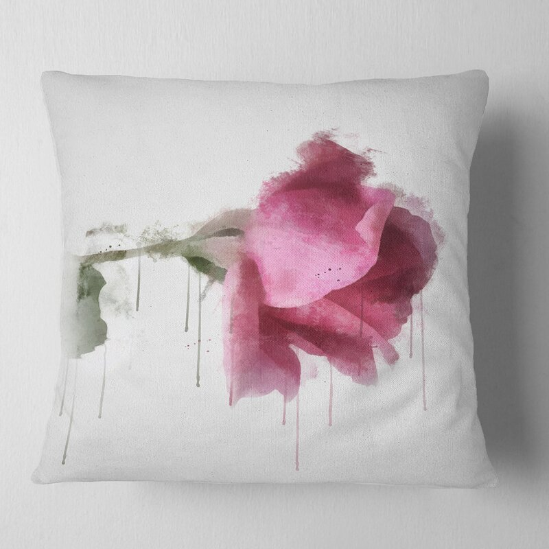East Urban Home Floral Beautiful Rose Watercolor Drawing Pillow Wayfair