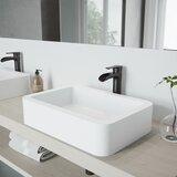 VIGO Matte Stone Rectangular Vessel Bathroom Sink with Faucet byVIGO