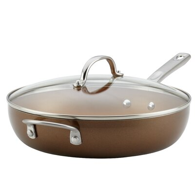 Porcelain Enamel Covered Deep with Helper Handle 12 Non-Stick Skillet with Lid Ayesha Curry