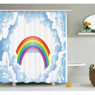 Madeline Rainbow Fluffy Clouds Single Shower Curtain
