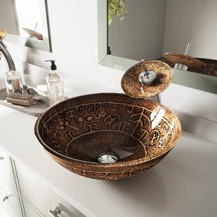 Golden Greek Glass Circular Vessel Bathroom Sink ByVIGO