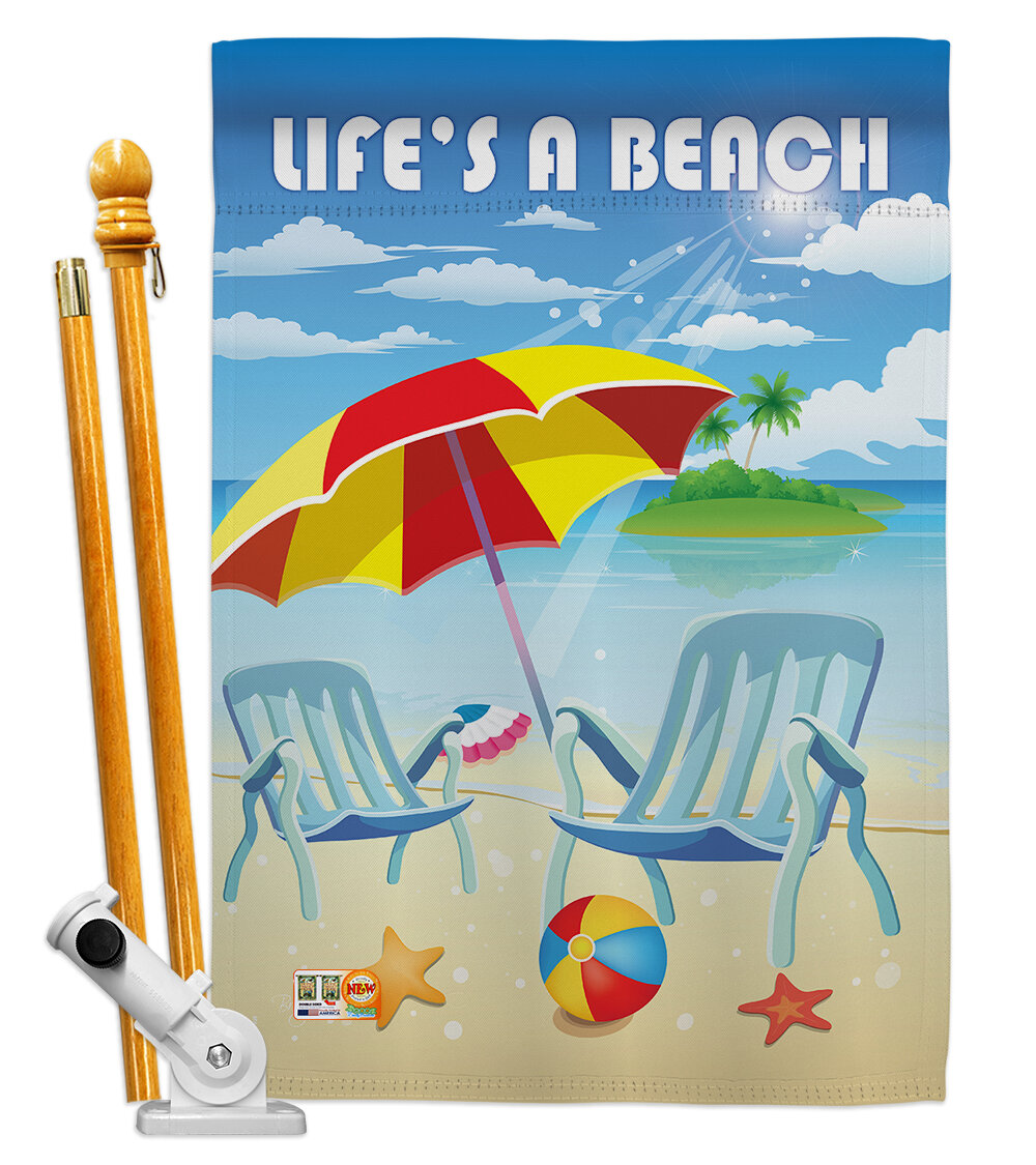 Breeze Decor Life S A Beach Summer Fun In The Sun Impressions Decorative Vertical 2 Sided Polyester 40 X 28 In Flag Set Wayfair