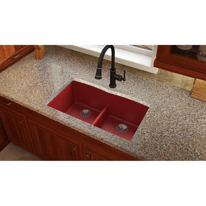 quartz luxe 33   x 19   double basin undermount kitchen sink with aqua divide elkay quartz luxe 33   x 19   double basin undermount kitchen sink      rh   wayfair com