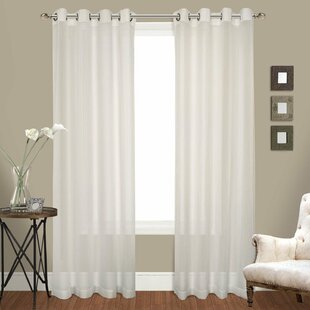 Ortley Crushed Voile Solid Sheer Grommet Curtain Panel Pair (Set of 2) by Lark Manor
