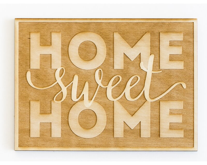 Home Sweet Home Engraved Wood Sign Wall Décor
