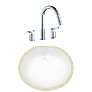 Read Reviews CSA Ceramic Oval Undermount Bathroom Sink with Faucet and Overflow By American Imaginations