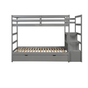 Chontel Twin over Twin Bunk Bed with Trundle Shelves and 1 Drawer