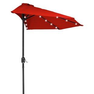 9' Lighted Half Umbrella by Trademark Innovations