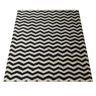 Bargain Amira Contemporary Hand-Knotted Black/White Indoor/Outdoor Area Rug By Latitude Run
