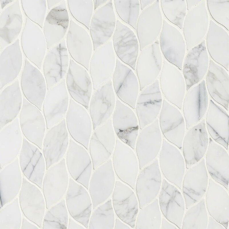 MSI Calacatta Blanco Pattern Polished Marble Mosaic Tile in White ...