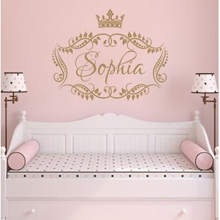 Lovely Princess Crown Personalized Name Wall Decal