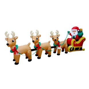 Christmas Inflatable Santa Claus On Sleigh With Three Reindeer Decoration