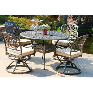 Ballou Aluminum 5 Piece Sunbrella Dining Set with Sunbrella Cushions