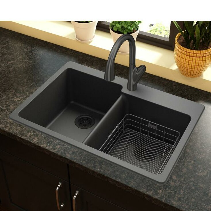 Quartz Clic 33 X 22 Double Basin Top Mount Kitchen Sink