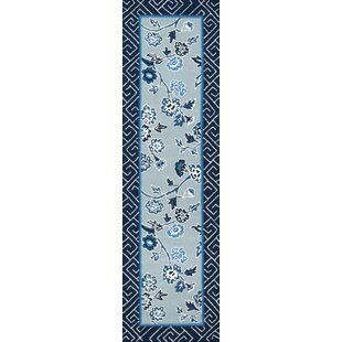 Aphrodite Blossom Dearie Hand-Hooked Blue Indoor/Outdoor Area Rug