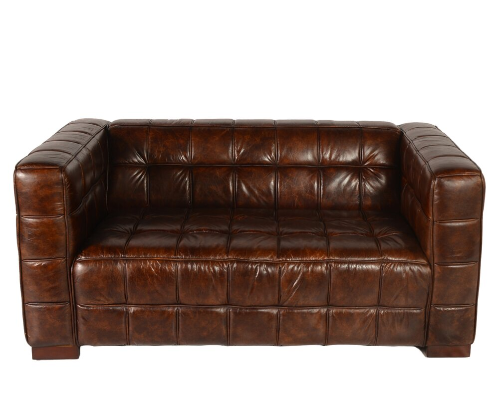 Nautical Leather Chesterfield Loveseat