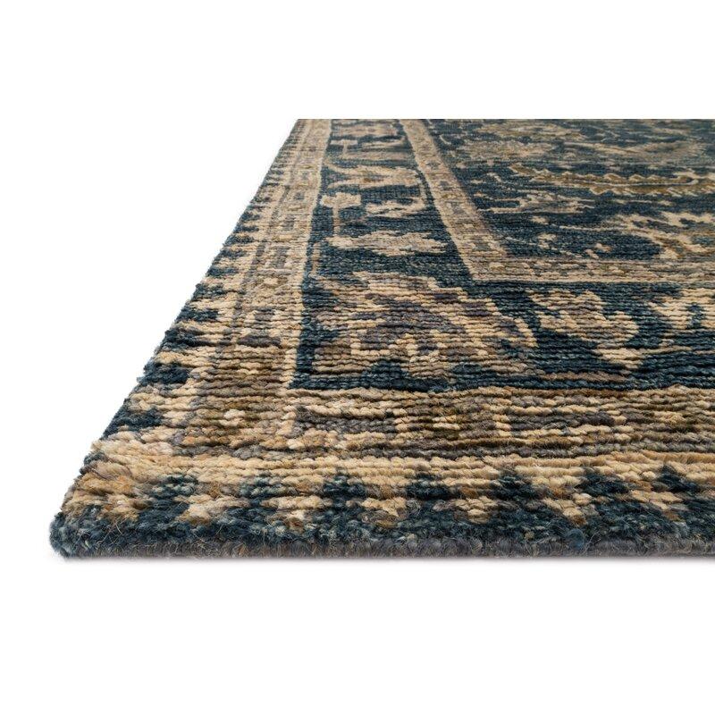 Alcott Hill Keister Hand-Knotted Indigo/Slate Area Rug, Size: Rectangle 79 x 99