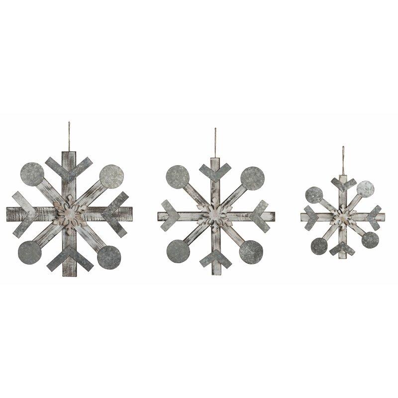 The Holiday Aisle 3 Piece Snowflake Shaped Ornament Set Wayfair