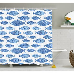 Kentshire Mosaic Fish Decor Single Shower Curtain