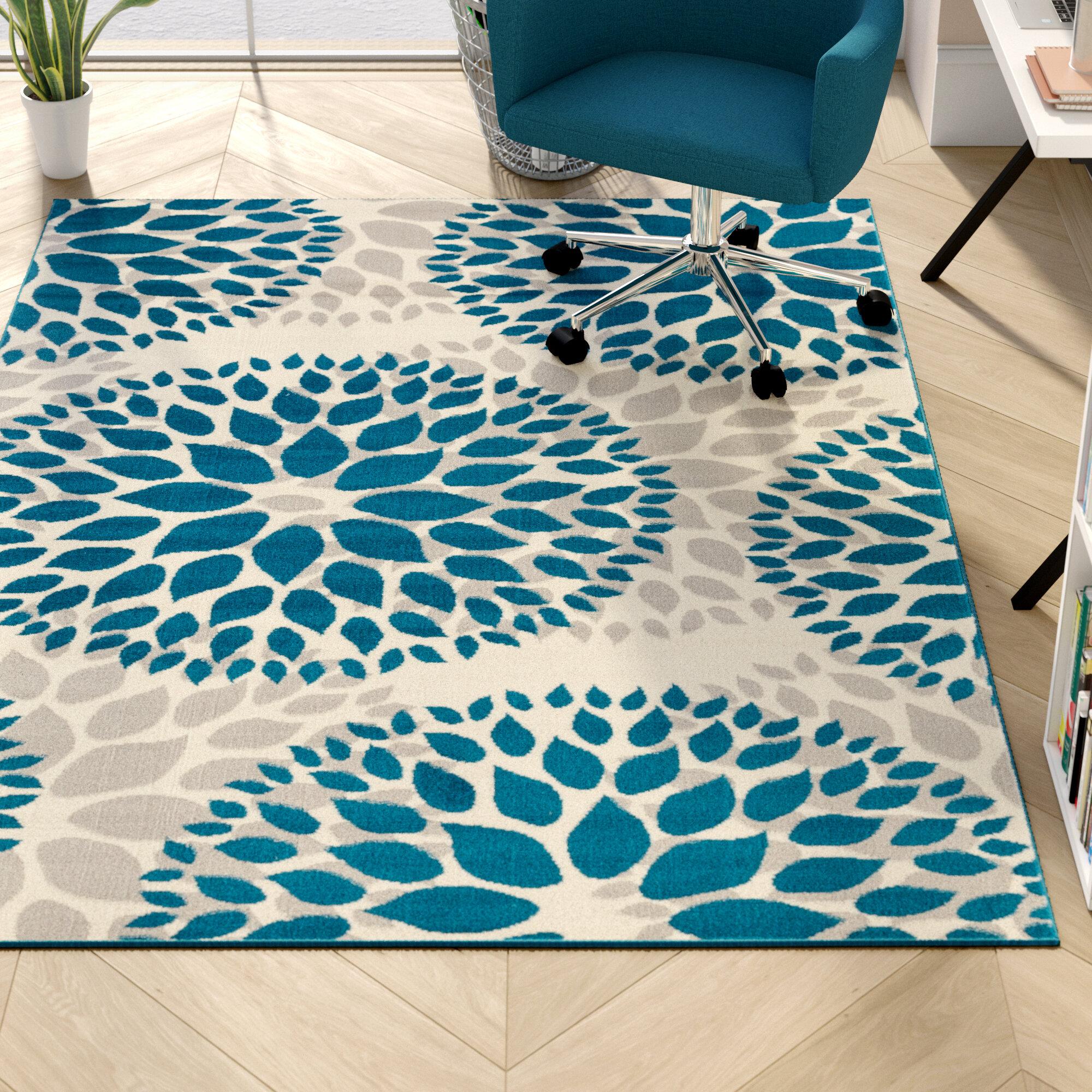 Winston Porter Lebouef Floral Blue Gray Area Rug Reviews Wayfair Ca