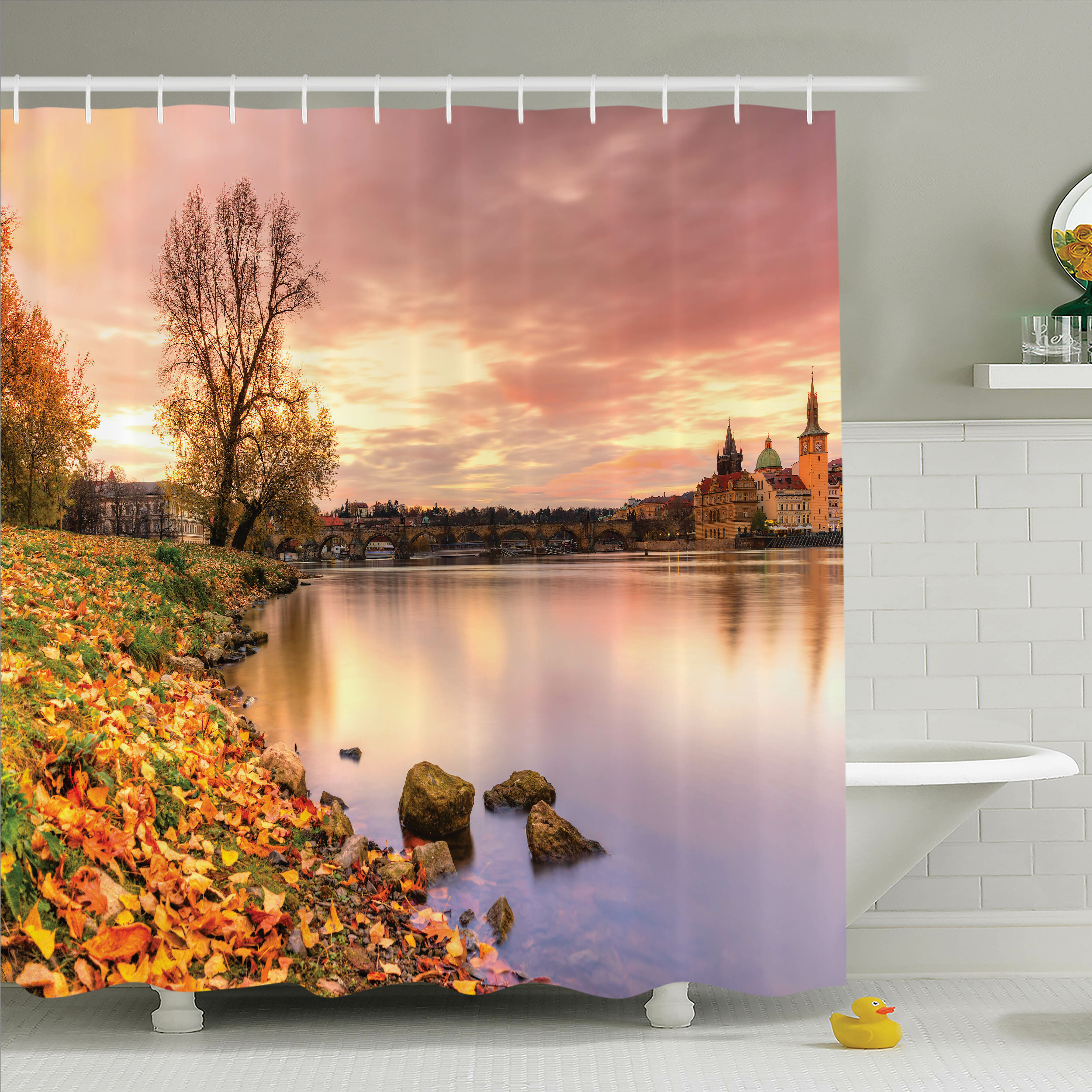 Latitude Run Tamekia Prague Riverside Autumn Shower Curtain Set U0026 Reviews |  Wayfair