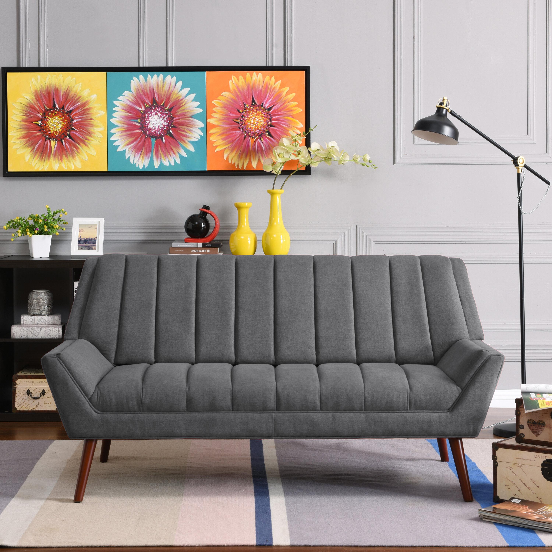 Houston Mid Century Modern Arm Sofa In Plush Low Pile Velvet U0026 Reviews    Joss U0026 Main