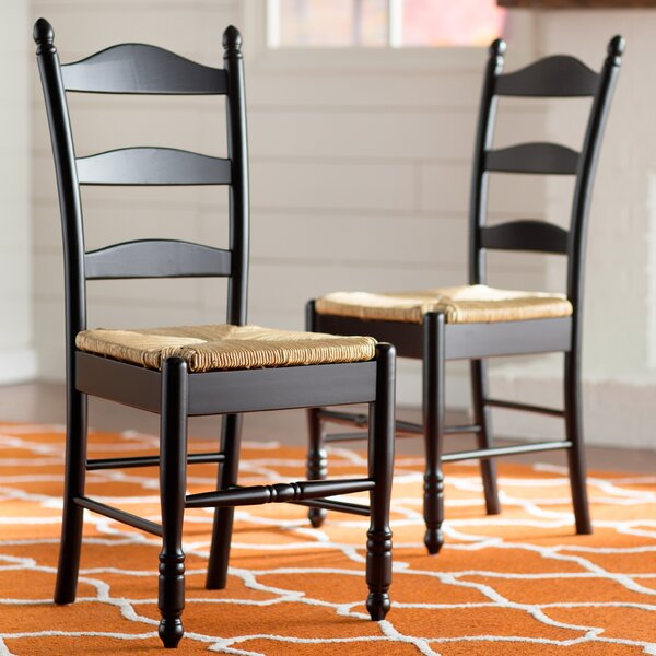 Lark Manor Gennevilliers Ladder Back Solid Wood Dining Chair Reviews Wayfair