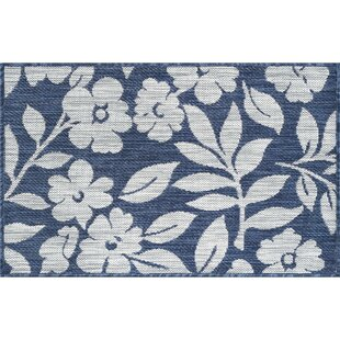 Kadin Contemporary Floral Navy Indoor/Outdoor Area Rug