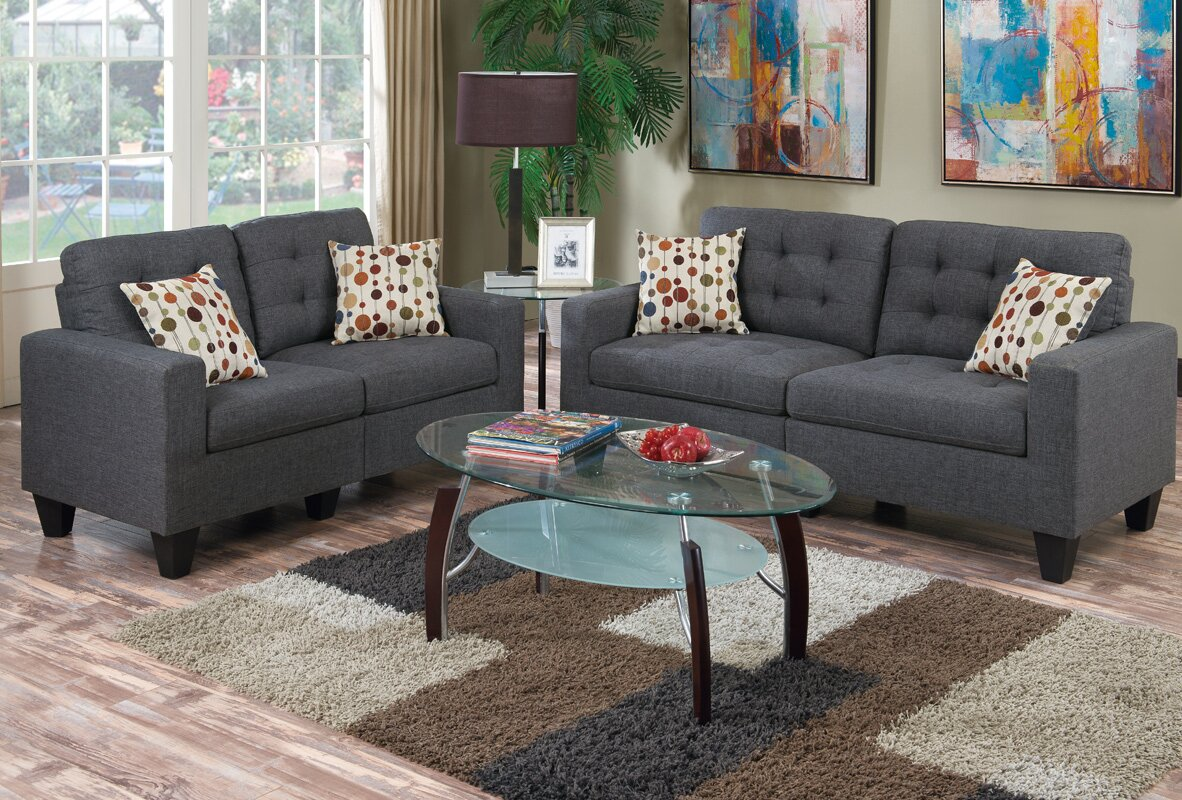 Zipcode Design Amia 2 Piece Living Room Set & Reviews | Wayfair