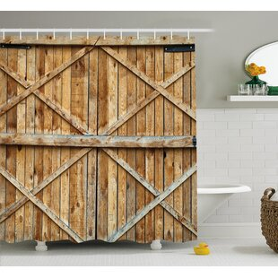 Rustic Wooden Timber Door Plank Shower Curtain + Hooks
